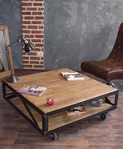 table basse design industriel meuble de style industriel bois et acier sur mesure micheli design. Black Bedroom Furniture Sets. Home Design Ideas