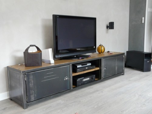 meuble bois acier meuble de style industriel bois et. Black Bedroom Furniture Sets. Home Design Ideas
