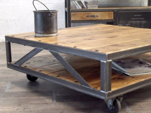 Table basse bois m tal meuble de style industriel bois for Table basse bois metal industriel
