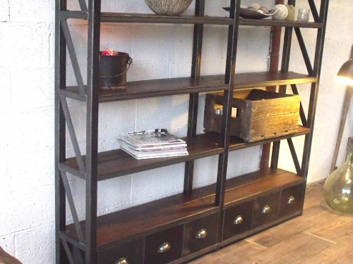 etag re biblioth que meuble de style industriel bois et. Black Bedroom Furniture Sets. Home Design Ideas