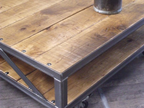 Table basse loft meuble de style industriel bois et - Table basse metal industriel loft ...