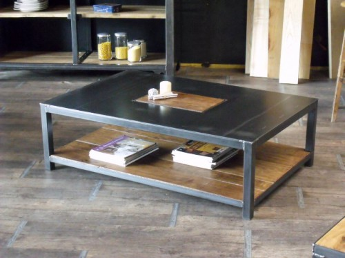table basse bois métal, table basse rectangle, table basse industrielle