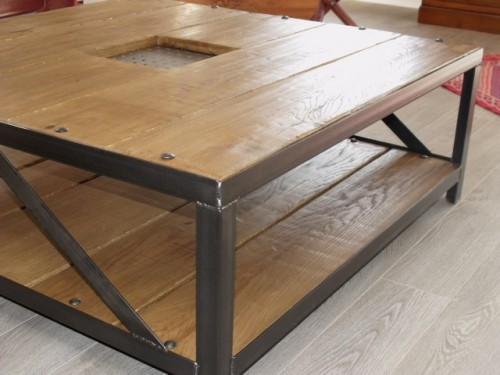 Table de salon design meuble de style industriel bois et - Table salon bois metal ...
