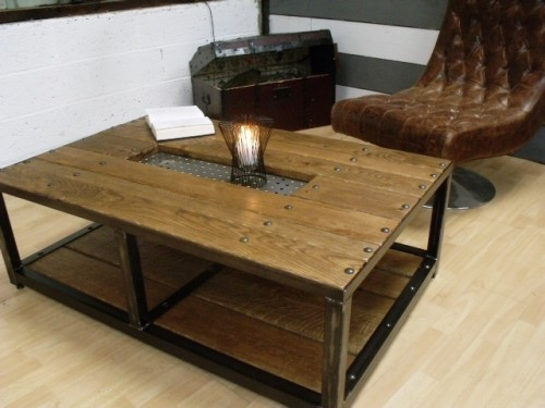 Table basse bois m tal meubles industriels meuble de - Table de salon en bois ...