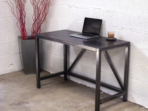 Table bureau m tal meuble loft meuble de style for Bureau industriel metal bois