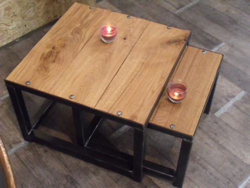table gigogne bois et m tal design industriel meuble de style industriel bois et acier sur. Black Bedroom Furniture Sets. Home Design Ideas