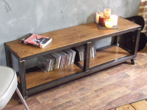 meuble tv industriel meuble de style industriel bois et acier sur mesure micheli design. Black Bedroom Furniture Sets. Home Design Ideas