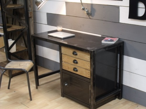 bureau m tal dactyles meuble de style industriel bois et acier sur mesure micheli design. Black Bedroom Furniture Sets. Home Design Ideas
