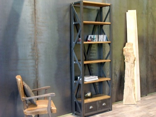 biblioth que bois et m tal style industriel meuble de style industriel bois et acier sur. Black Bedroom Furniture Sets. Home Design Ideas
