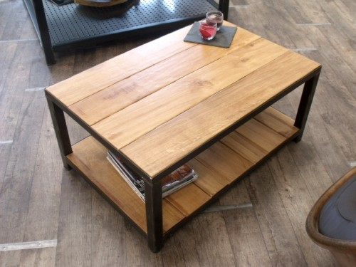 table basse meuble de style industriel bois et acier sur mesure micheli design. Black Bedroom Furniture Sets. Home Design Ideas