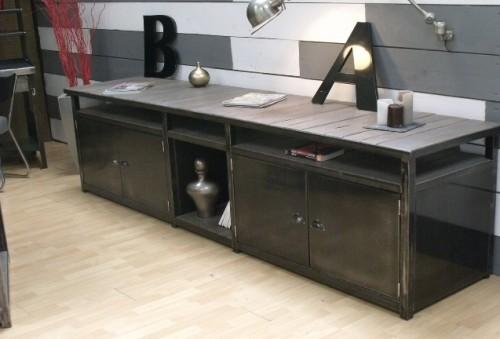 meuble loft meuble de style industriel bois et acier sur mesure micheli design. Black Bedroom Furniture Sets. Home Design Ideas