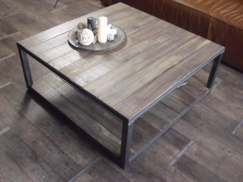 Table basse bois gris style industriel atelier meuble for Table basse bois metal industriel
