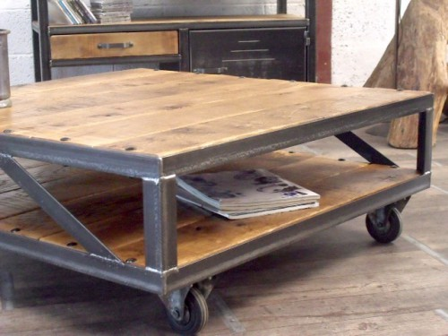 Table basse industrielle meuble de style industriel bois for Table basse industrielle metal et bois