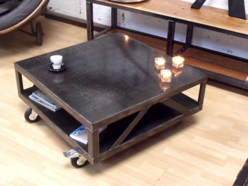 Table de salon design m tal table basse carr e style industriel meuble de - Table de salon bois et metal ...